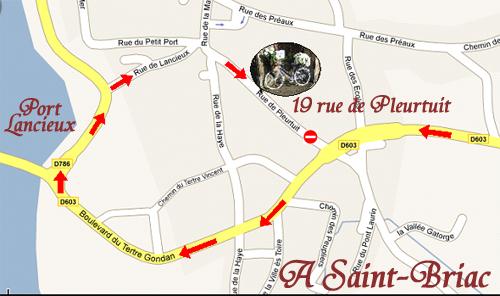Plan de Saint-Briac sur Mer avec localisation de nos chambres d'hôtes